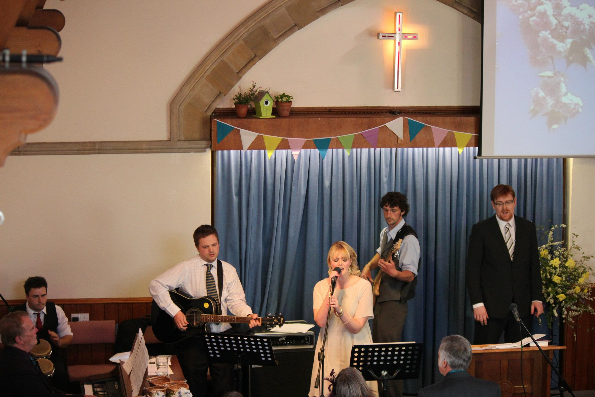 A picture of worship from a wedding, not a Sunday!  Which, ironically, includes our usual worship leader's brother, brother-in-law, mum and dad, but not her!  Sorry Hannah!