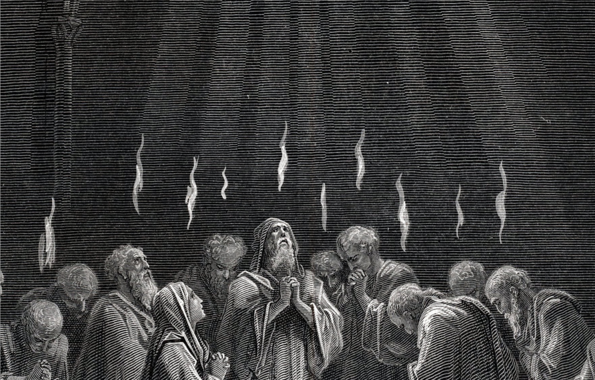 1879 Antique Engraving on Pentecost by Gustave Dore